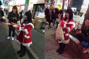 上原亜衣变身圣诞女郎 涩谷街头发糖果宣传引退作